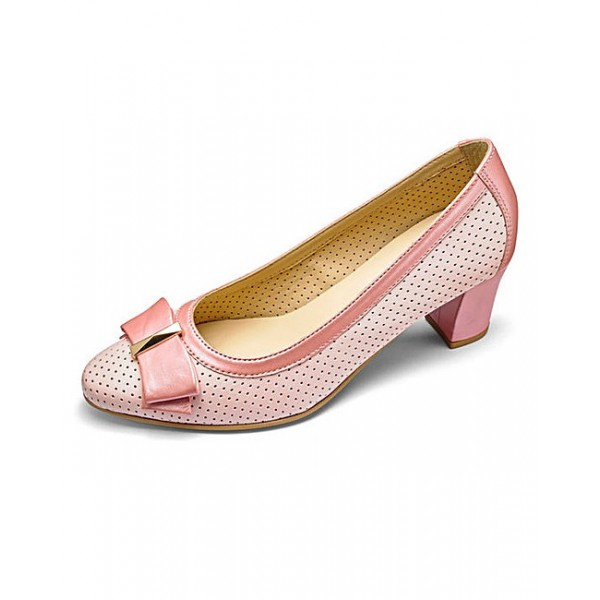 Pink Chunky Heels Hollow out Cut Pumps with Bow image 1