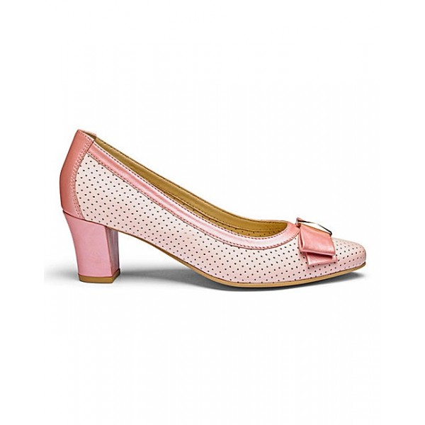 Pink Chunky Heels Hollow out Cut Pumps with Bow image 2