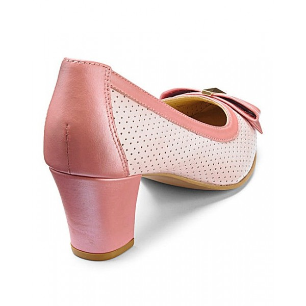 Pink Chunky Heels Hollow out Cut Pumps with Bow image 3