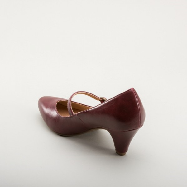 Burgundy Mary Jane Pumps Cone Heel Vintage Shoes for Women image 2