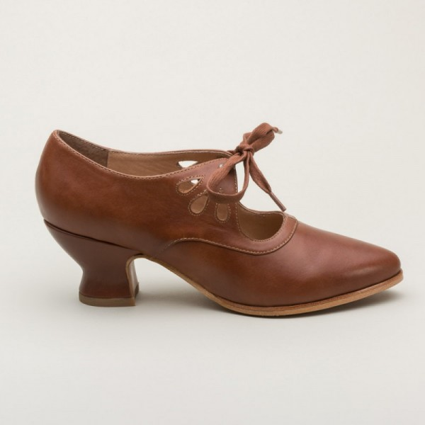 Brown Vintage Heels Lace up Pumps Spool Heels image 5