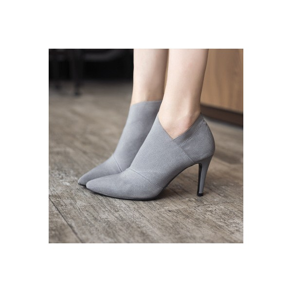 Grey Vintage Heels Pointy Toe Stiletto Heels Ankle Booties image 1