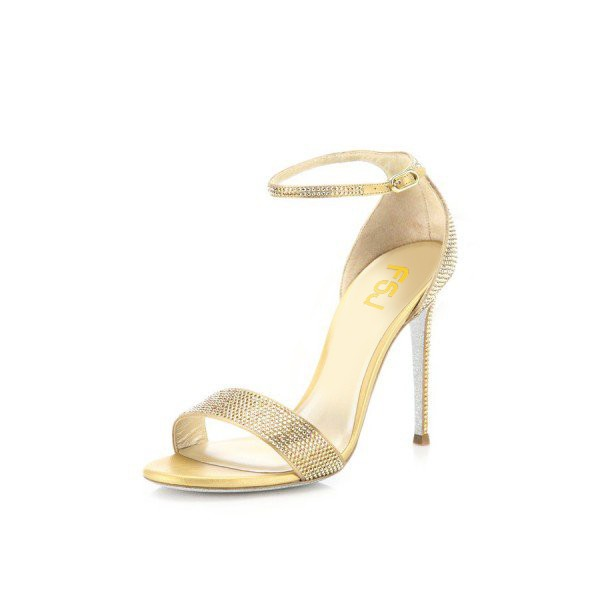 Women's Gold Evening Shoes Ankle Strap Rhinestone Stiletto Heels Sandals image 1