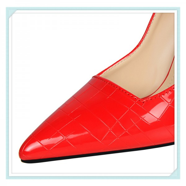 Women's Red Classic Pointy Toe Commuting Stiletto Heel Pumps 4 Inch Heels image 4