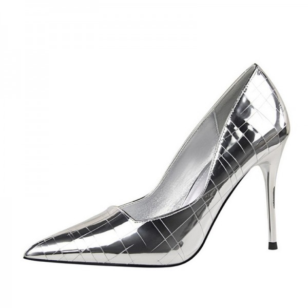 cf016301af0 Silver Metallic Heels Pointy Toe Mirror Leather Stiletto Heel Pumps image 1  ...