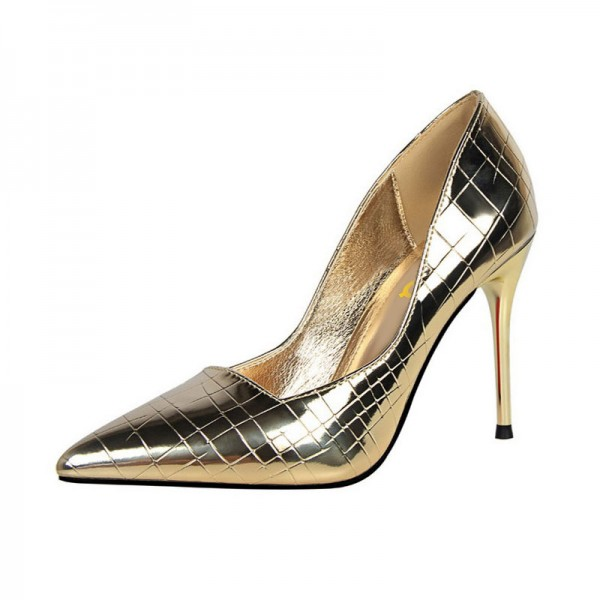 Gold Metallic Heels Pointy Toe Stiletto Heel Office Pumps  image 1