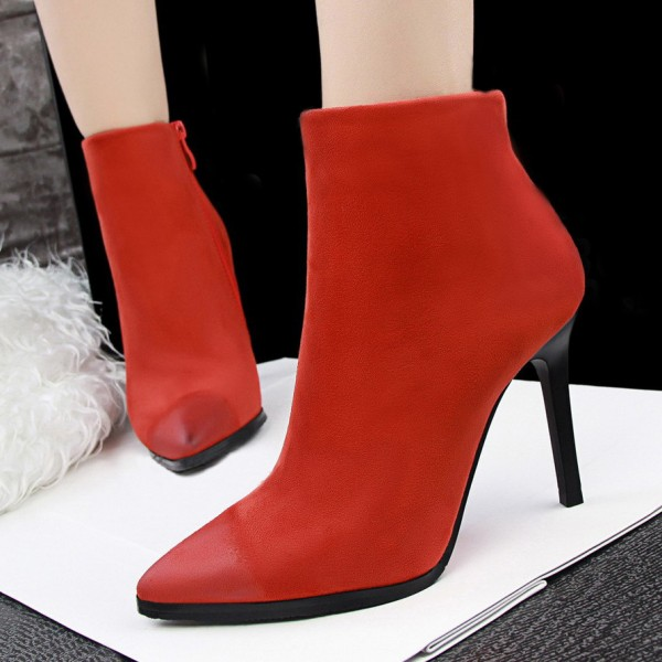 Women's Orange Stiletto Heels Ankle Boots Pointed Toe Vintage Boots image 1