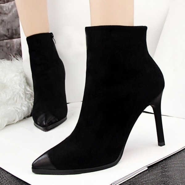 Black Stiletto Boots Retro Pointy Toe Suede Ankle Booties image 1