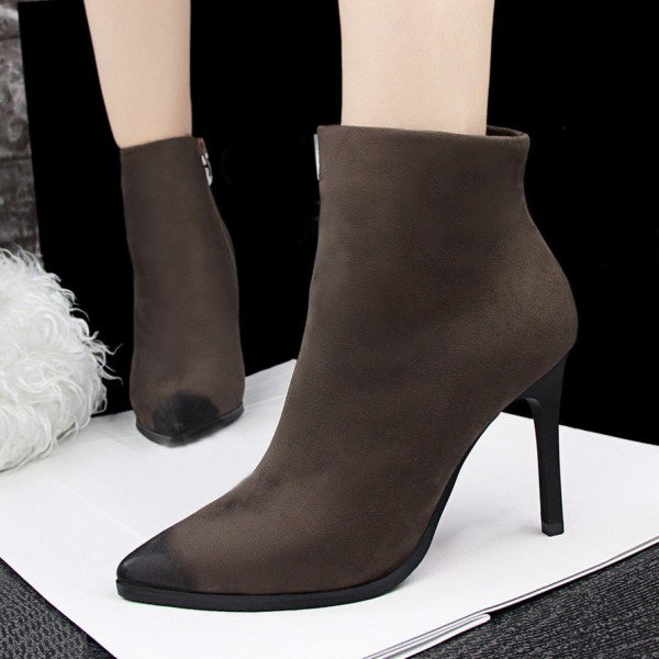 Brown Stiletto Boots Pointy Toe Suede Vintage Ankle Booties image 1