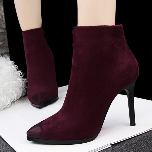 2017 Burgundy Stiletto Heels Pointy Toe Suede Ankle Booties for Women image 1