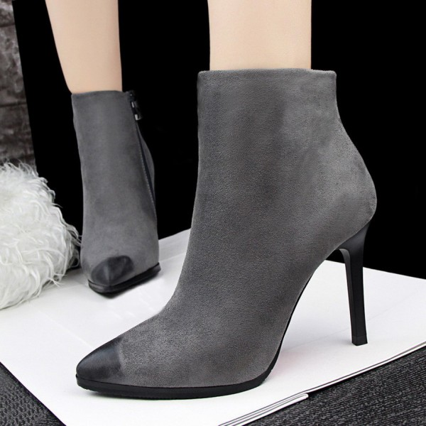 Women's Grey Pointed Toe Stiletto Heels Vintage Ankle Boots  image 1