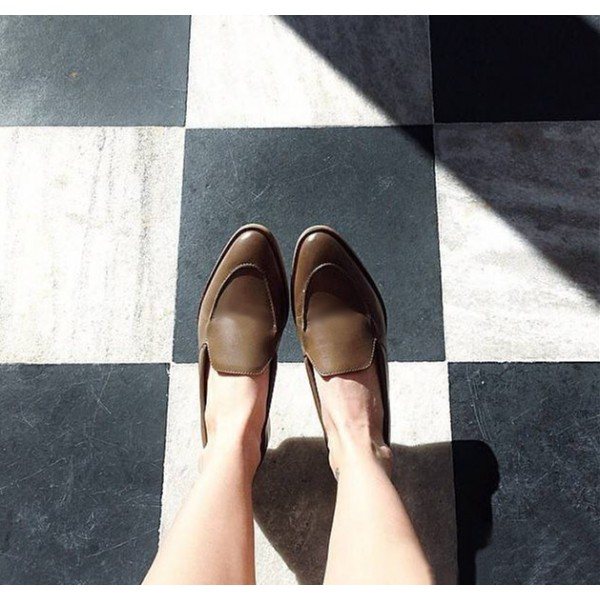Women's Brown Pointed Toe Vintage  Retro Comfortable Flats Shoes image 2