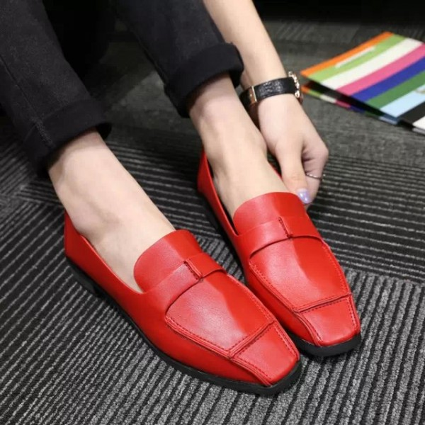 Women's Coral Red Square Toe Comfortable Flats Patent Leather Shoes image 3
