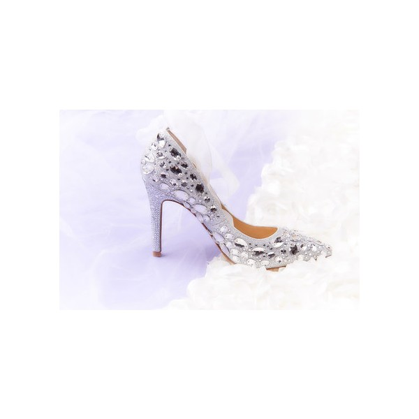 Women's Silver Gilter Crystal Strappy Stiletto Heels Wedding Shoes image 2