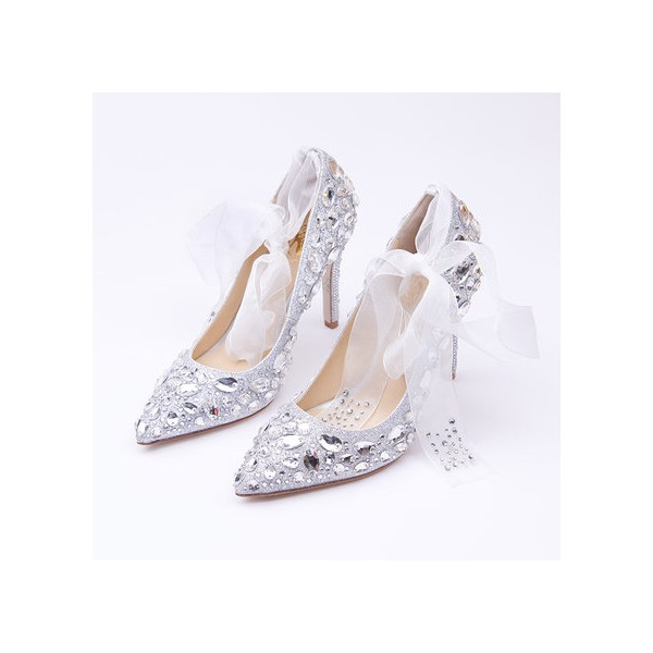 Women's Silver Gilter Crystal Strappy Stiletto Heels Wedding Shoes image 1