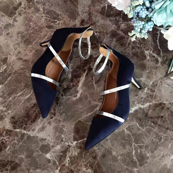 Navy Kitten Heels Ankle Strap Pointy Toe Pumps for Women image 5