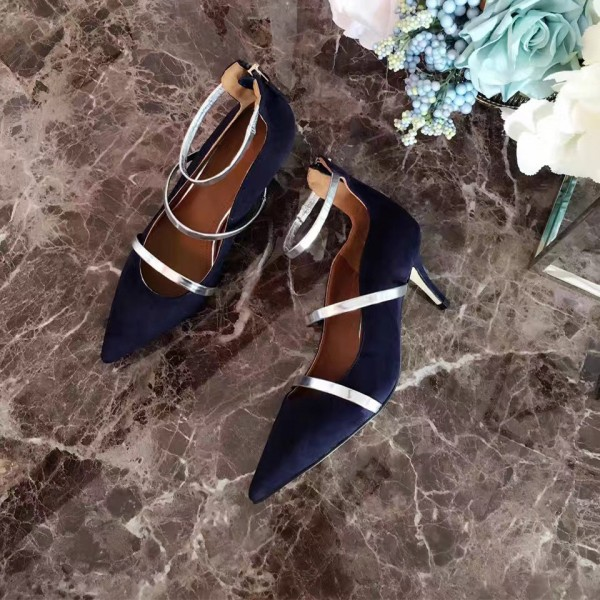 Navy Kitten Heels Ankle Strap Pointy Toe Pumps for Women image 4