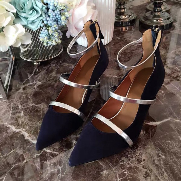 Navy Kitten Heels Ankle Strap Pointy Toe Pumps for Women image 1