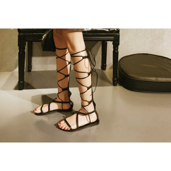 Women's Black Strappy Flat Women's Gladiator Sandals image 2