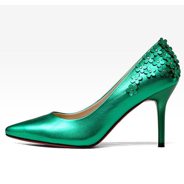 Green Floral Heels Pointy Toe Stiletto Heels Pumps for Women image 2