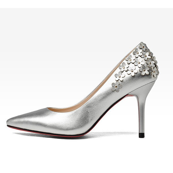 Women's Silver Floral Elegant Pointed Toe Stiletto Heel Bridal Shoes  image 3