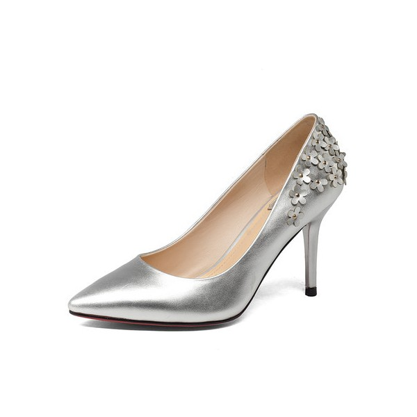 Women's Silver Floral Elegant Pointed Toe Stiletto Heel Bridal Shoes  image 1