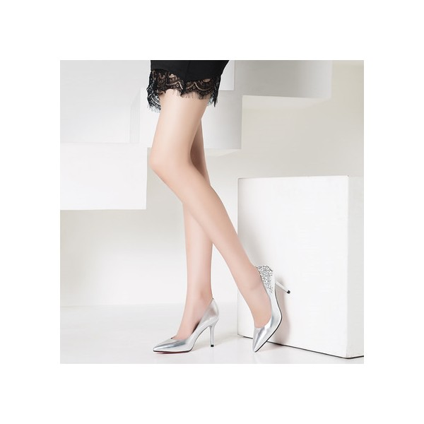 Women's Silver Floral Elegant Pointed Toe Stiletto Heel Bridal Shoes  image 2