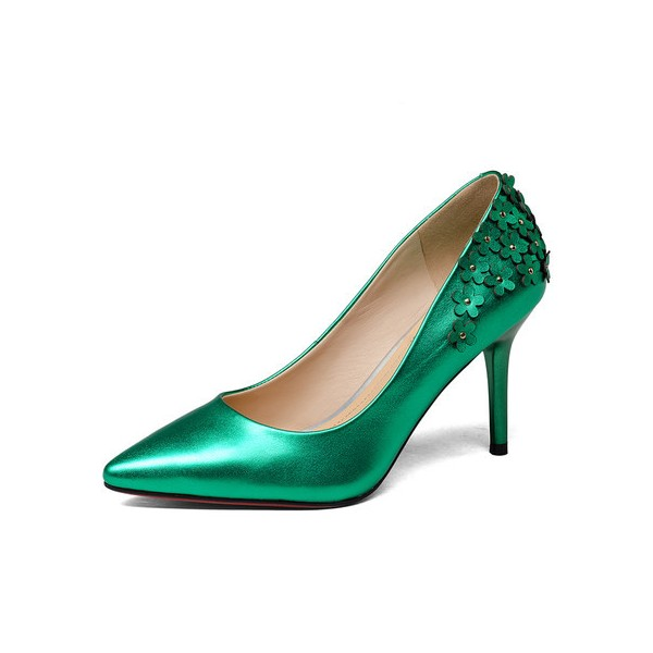 Green Floral Heels Pointy Toe Stiletto Heels Pumps for Women image 1