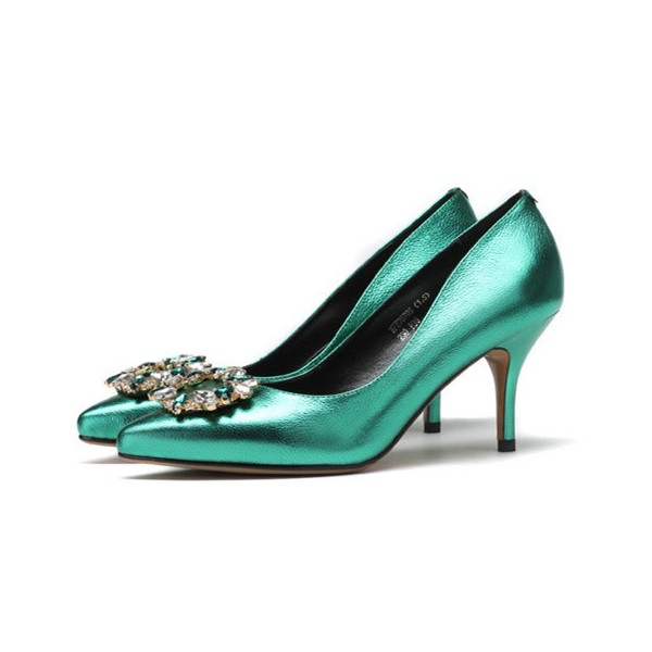Green Mirror Leather Crystal Square Buckle Stiletto Heel Wedding Shoes  image 1