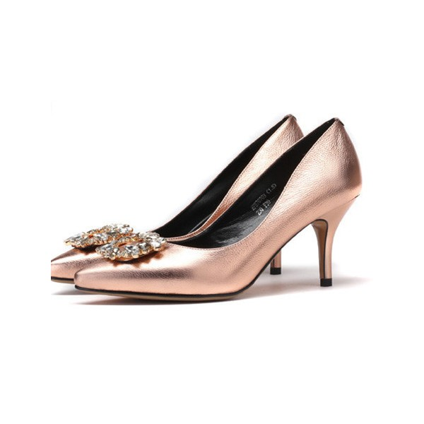 Women's Champagne Mirror Leather Crystal Stiletto Heel Pumps Bridal Heels image 1