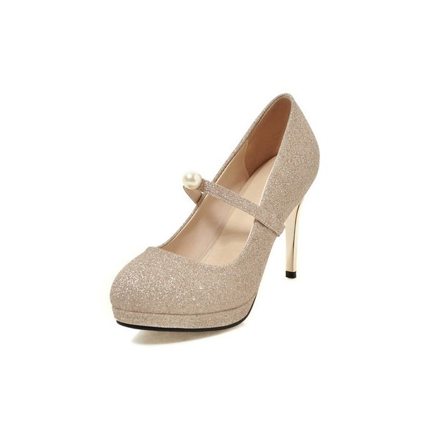 women's Champagne Platform Mary Jane Glitter Shoes Stiletto Heel Pumps image 1