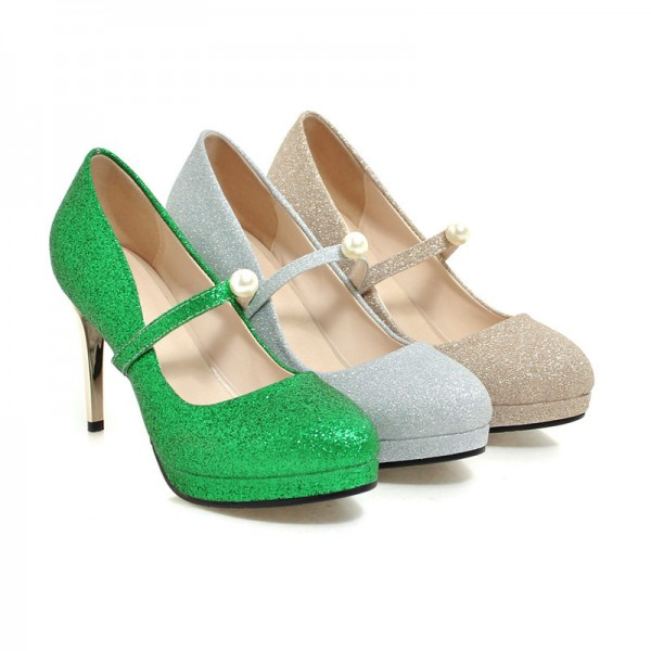 Women's Silver Mary Jane Pumps Vintage Retro Round Toe Shoes image 3