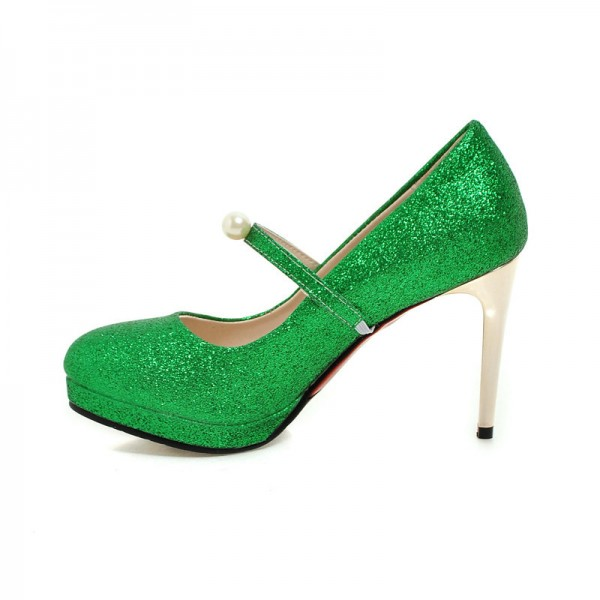 Women's Green Glitter Sttiletto Heels Pearl Almond Toe Mary Jane Shoes  image 1