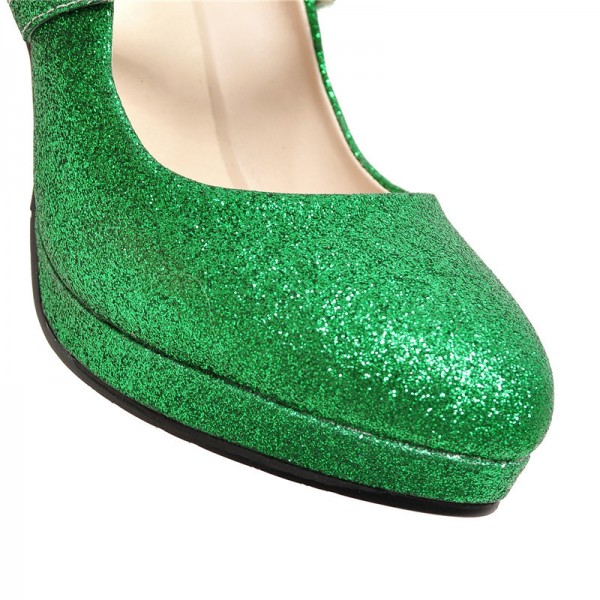 Women's Green Glitter Sttiletto Heels Pearl Almond Toe Mary Jane Shoes  image 2