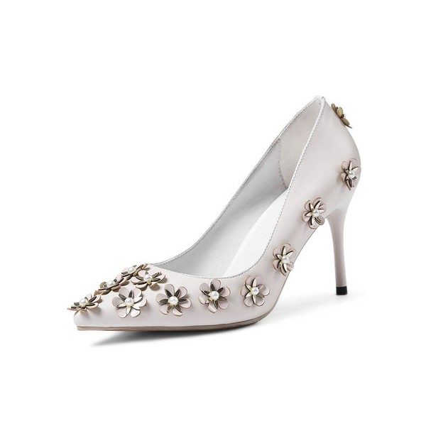 White Floral Heels Pointy Toe Stiletto Heels Pumps for Honeymoon image 1