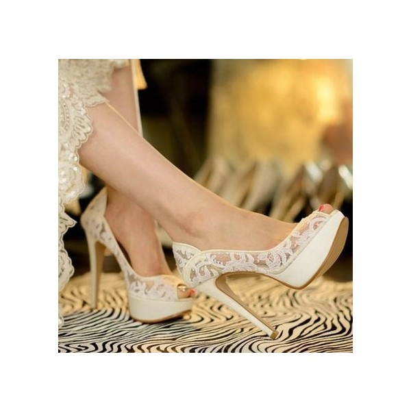White Bridal Shoes Platform Peep Toe Pumps Lace Heels for Wedding image 2