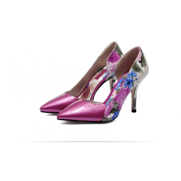 Women's Rose Low-cut Floral-print Pencil Stiletto Heels Pumps Shoes image 2