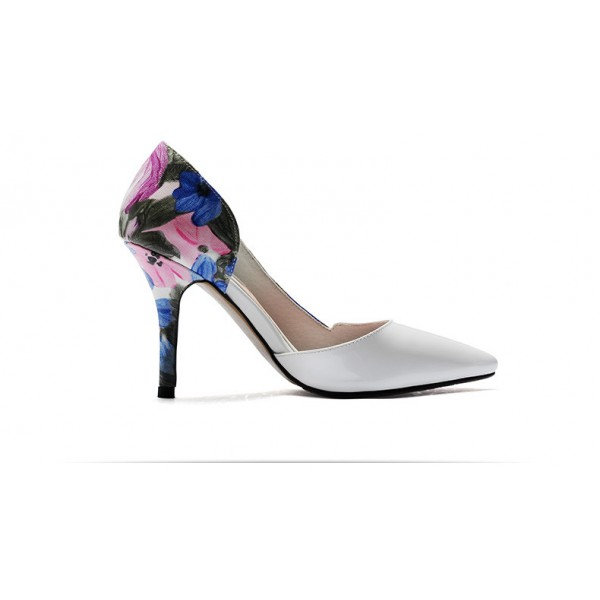 White Floral Heels Pointy Toe D'orsay Pumps Women's Stiletto Heels image 3