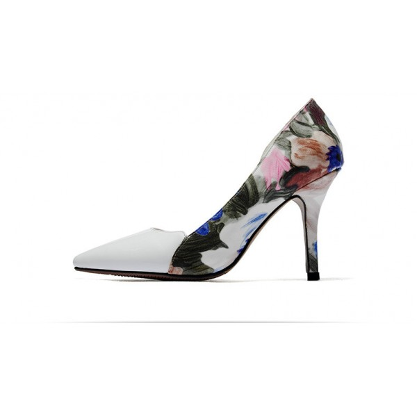 White Floral Heels Pointy Toe D'orsay Pumps Women's Stiletto Heels image 5