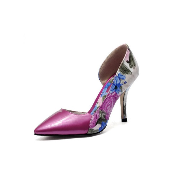 Women's Rose Floral-print Stiletto Heels Pointed Toe Low-cut Pumps image 1