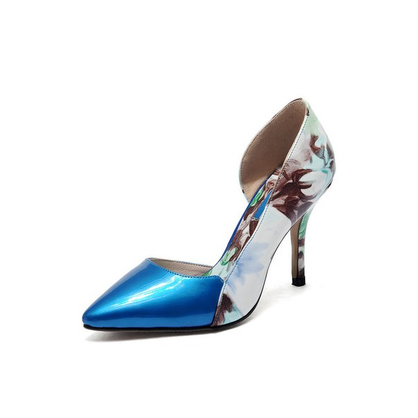 Blue Floral Heels Pointy Toe Stiletto Heels D'orsay Pumps image 1