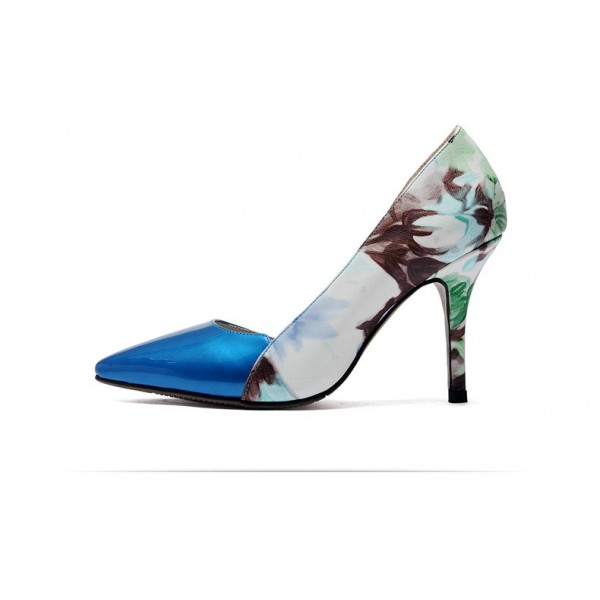 Blue Floral Heels Pointy Toe Stiletto Heels D'orsay Pumps image 4