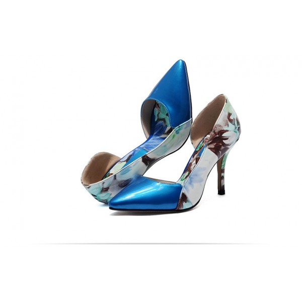 Blue Floral Heels Pointy Toe Stiletto Heels D'orsay Pumps image 2