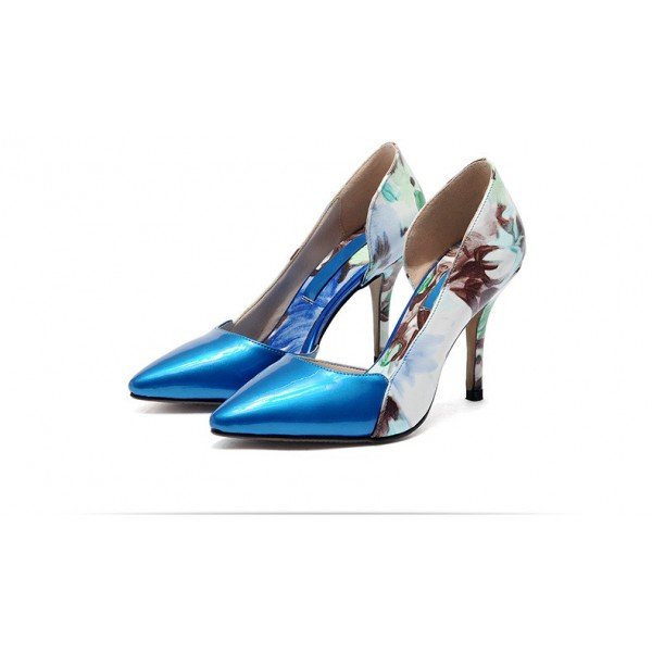Blue Floral Heels Pointy Toe Stiletto Heels D'orsay Pumps image 5