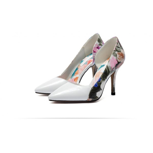 White Floral Heels Pointy Toe D'orsay Pumps Women's Stiletto Heels image 2