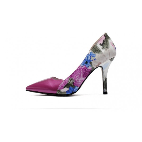 Women's Rose Low-cut Floral-print Pencil Stiletto Heels Pumps Shoes image 3