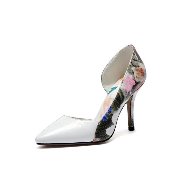 White Floral Heels Pointy Toe D'orsay Pumps Women's Stiletto Heels image 1