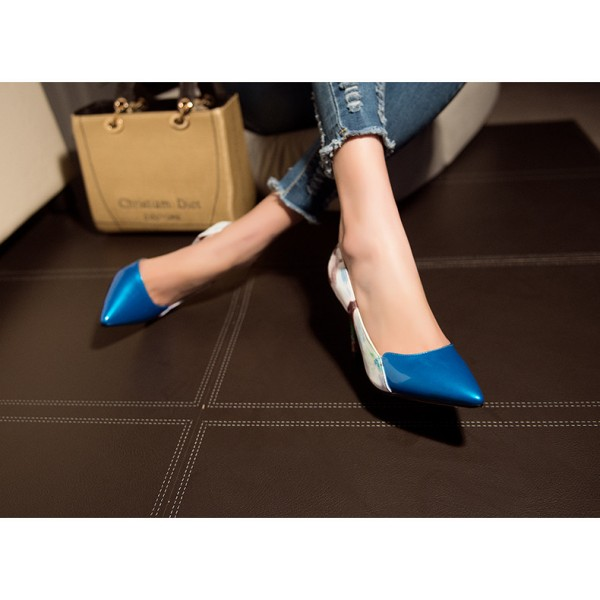 Blue Floral Heels Pointy Toe Stiletto Heels D'orsay Pumps image 3