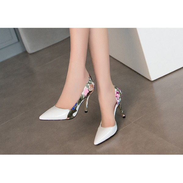 White Floral Heels Pointy Toe D'orsay Pumps Women's Stiletto Heels image 4