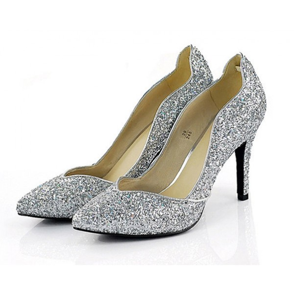 Sliver Sparkly Heels Pointy Toe Glitter Pumps for Big Day image 1
